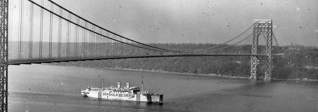 The Gripsholm passes under the George Washington Bridge. Unattributed  photo from the salship.se website