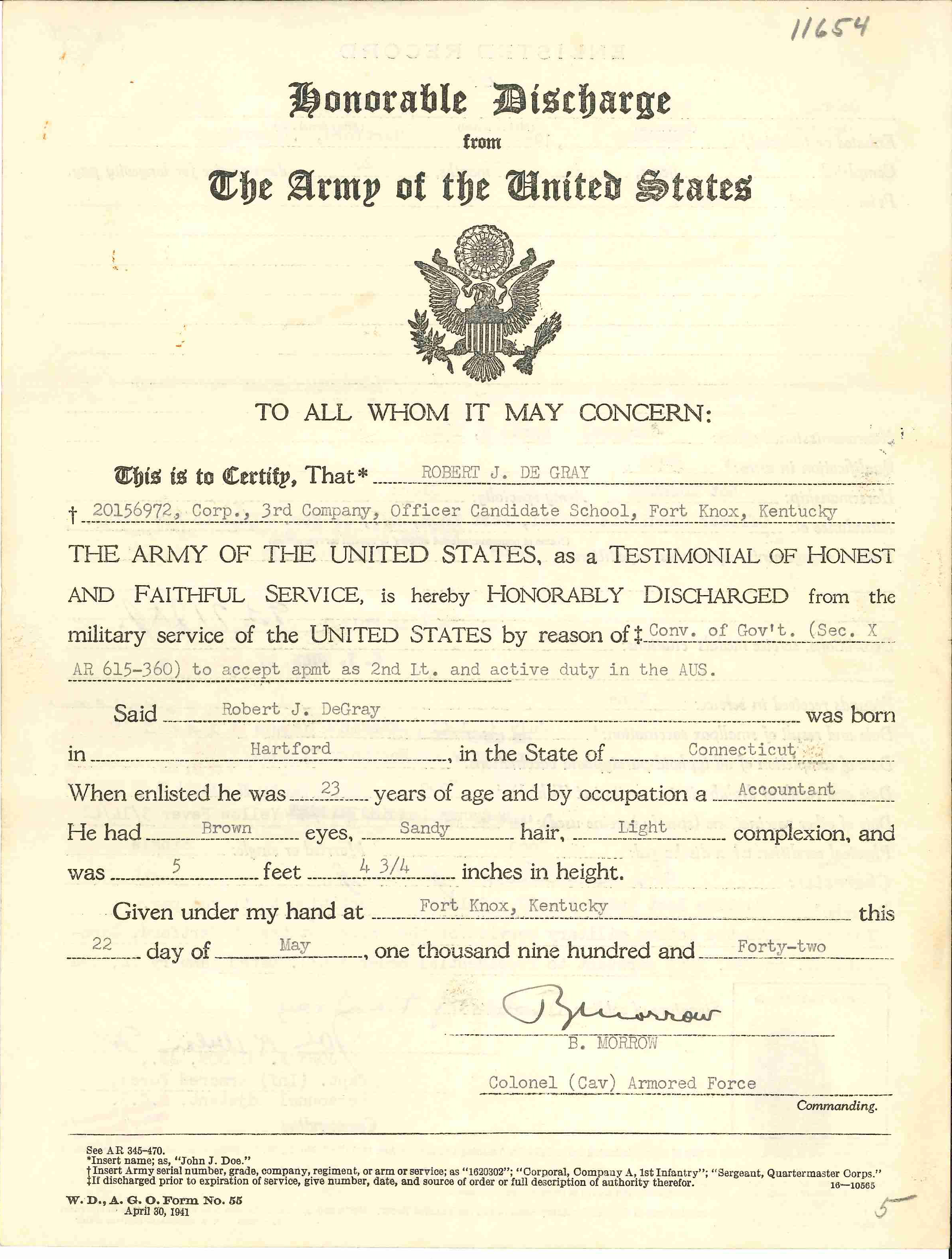 19420522 First Honorable Discharge