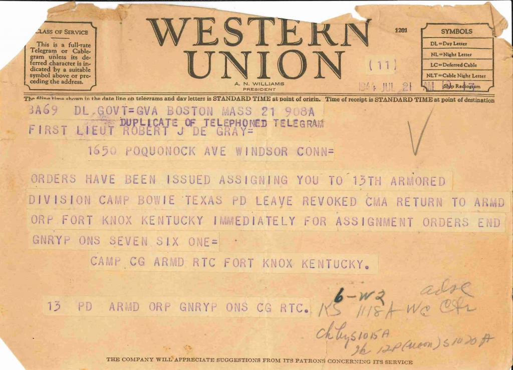 19440721 telegram cancellation of leave