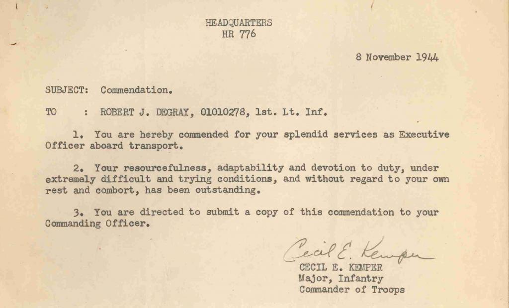 19441108 letter of commendation troop transport detail