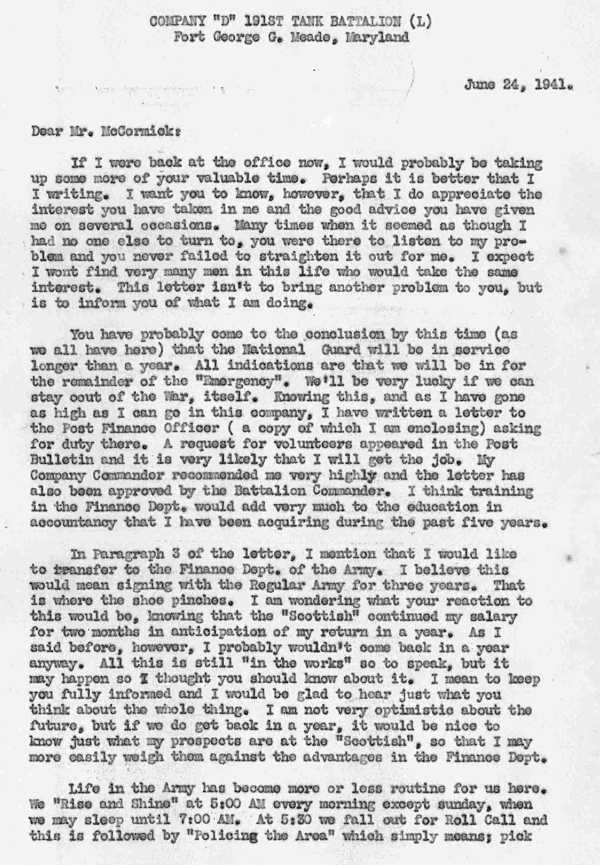 dads service letter of june 24 1941 page 1